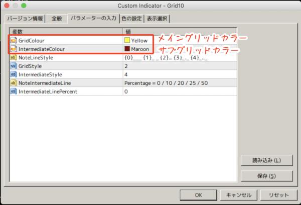 Grid10.mq4のグリッドカラーを変更する方法