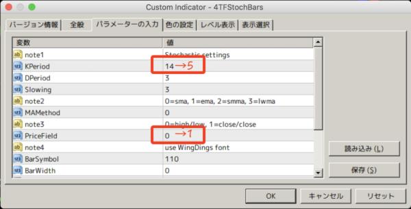 4TFStochBars.mq4のパラメーター設定