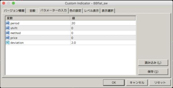 BBflat_sw.mq4のパラメーターは一般的なボリバンに合わせる