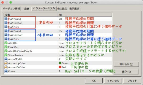 moving-average-ribbon.mq4|パラメーター設定の解説