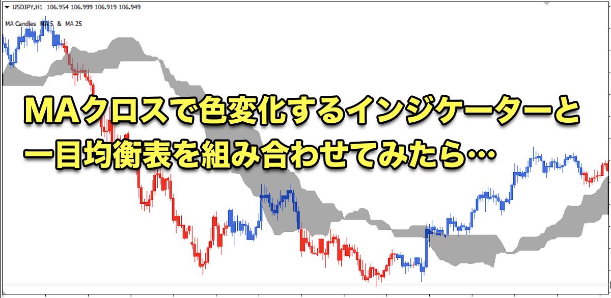 【FX手法】MAクロスで色変化するインジケーターと一目均衡表を組み合わせてみたら…