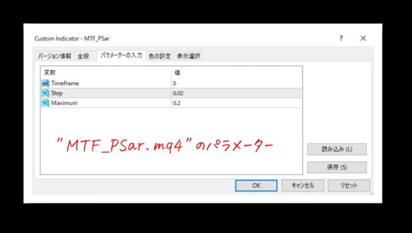 """""""MTF_PSar.mq4""""のパラメーター"""