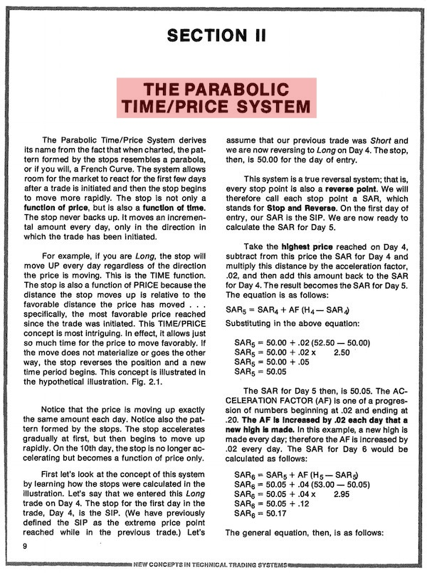 THE PARABOLIC TIME/PRICE SYSTEM